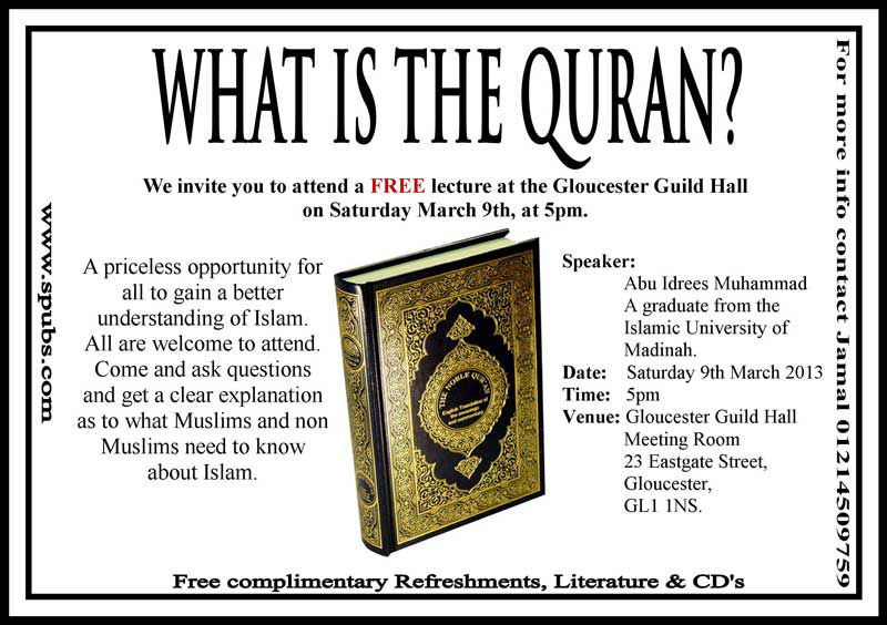 LIVE: What is The Qur'an – Abu Idrees Saturday March 9th @ 5pm