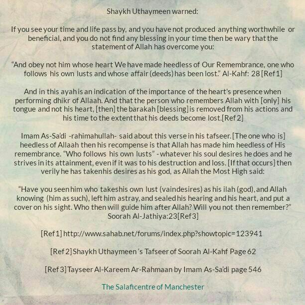 Heedless of Allaah and his desires are his god – Shaykh Uthaymeen and Shaykh As-Sa'di
