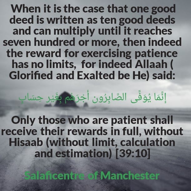 The Status of Patience and the Reward for Those Who Exercise Patience