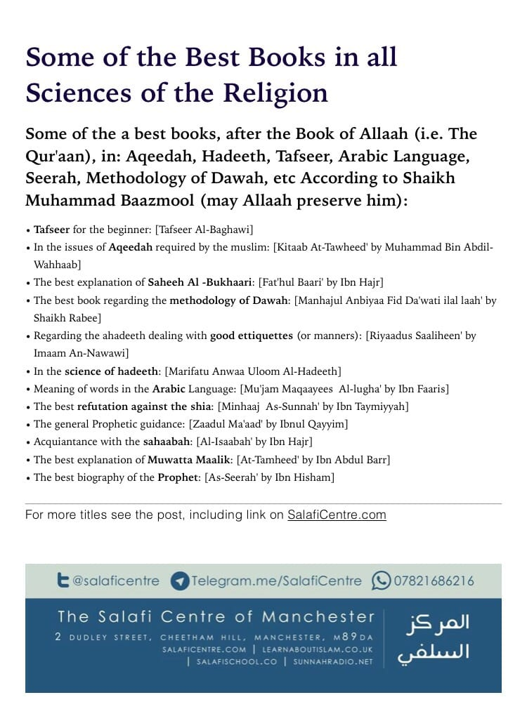 Some of the Best Books in all Sciences of the Religion