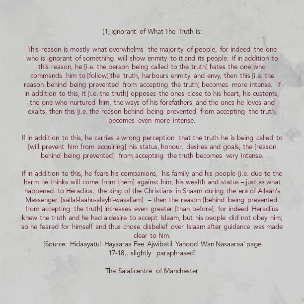 [1] The Reasons That Prevents a Person from Accepting the Truth' by Imaam Ibnul Qayyim