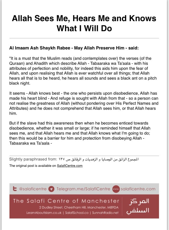 Allah Sees Me, Hears Me and Knows What I Will Do – Ash Shaykh Rabee bin Haadi Al Madkhalee