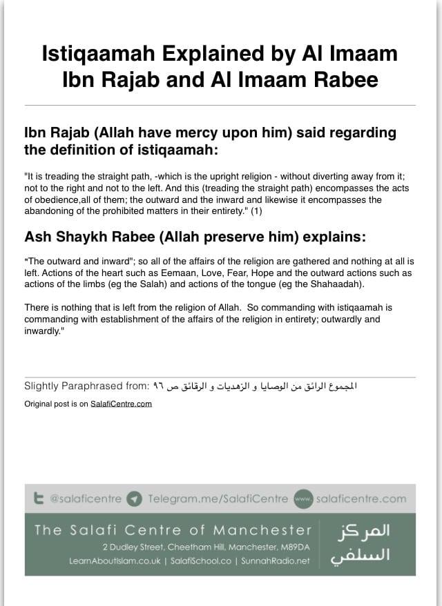 Istiqaamah Explained by Al Imaam Ibn Rajab & Al Imaam Rabee