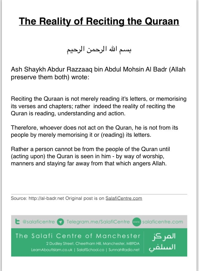 Reality of Reciting Quraan – Ash Shaykh Abdur Razzaaq Al Badr
