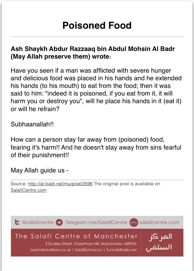 Poisoned Food – Ash Shaykh Abdur Razzaaq Al Badr