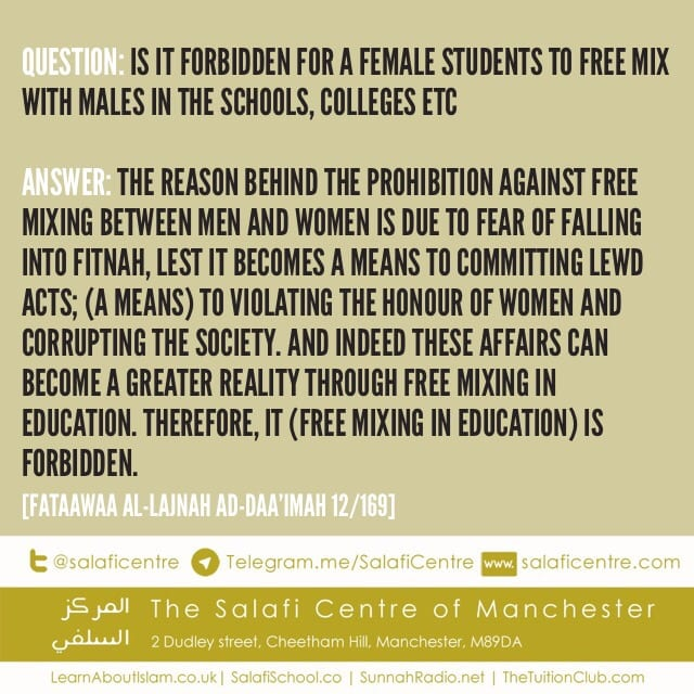Prohibition of Free Mixing In Educational Establishments- Permanent Committee
