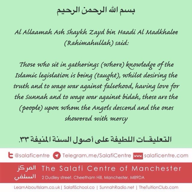 Those upon Whom The Angels Descend and Cover in Mercy – Ash Shaykh Zayd Al Madkhalee