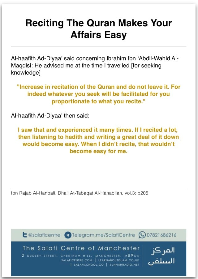 Reciting The Quraan Makes Your Affairs Easy