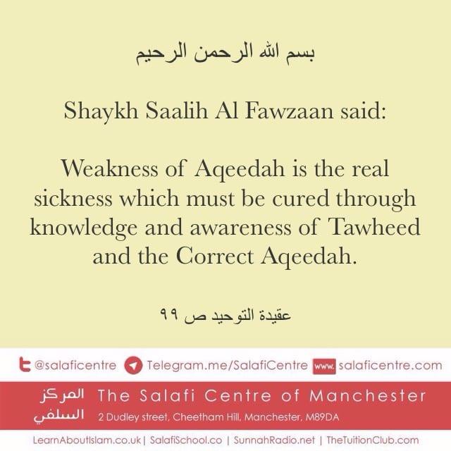 The Real Sickness and its Cure – Shaykh Saalih Al Fawzaan