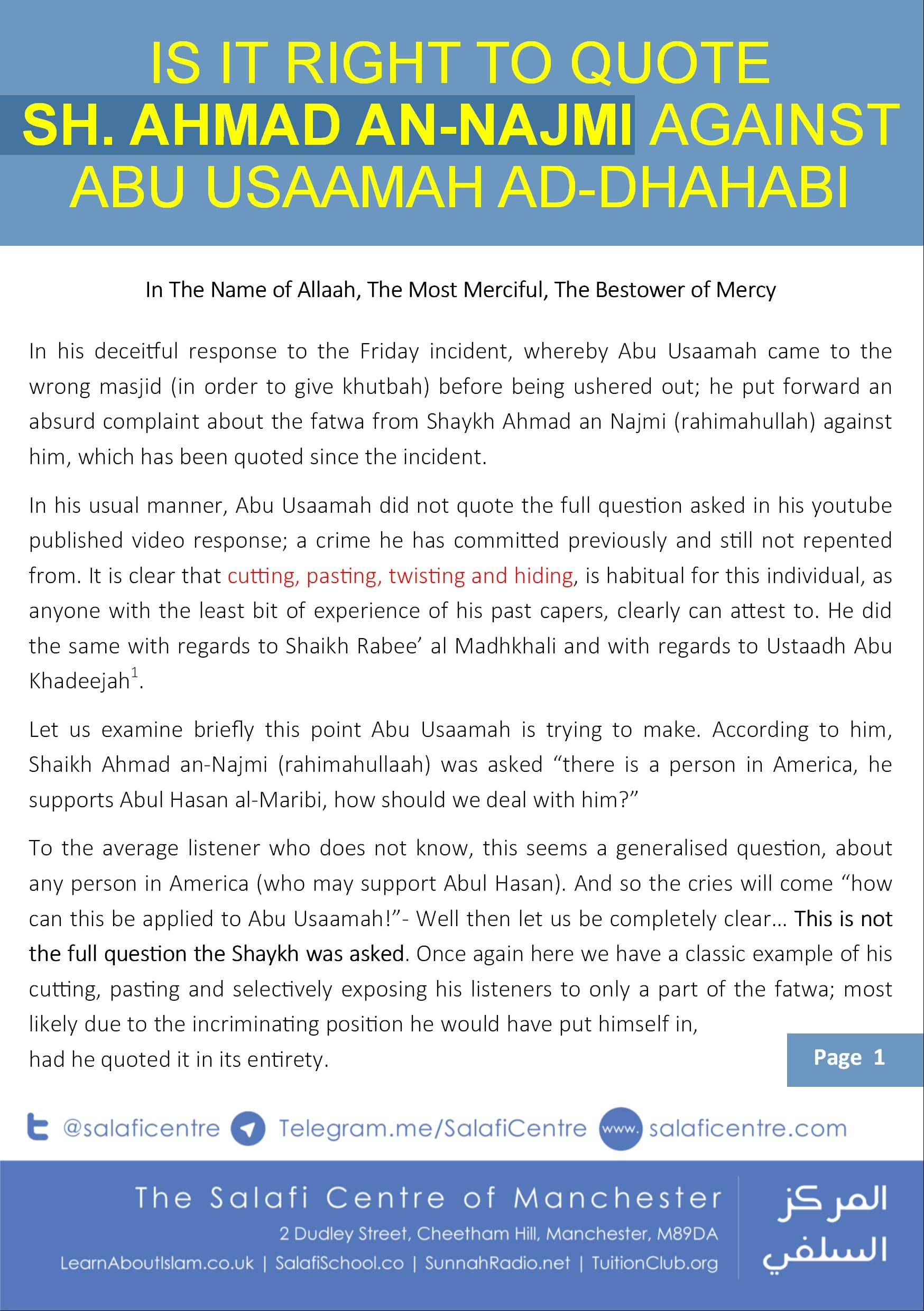 What Really was said by Shaykh Ahmad Najmi about Abu Usaamah Dhahabi