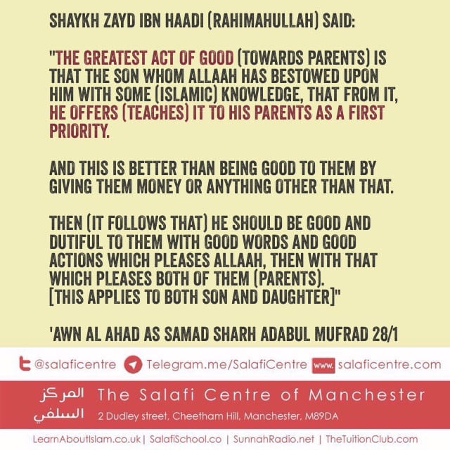 What Do I Owe My Parents? – Shaykh Zayd bin Haadi