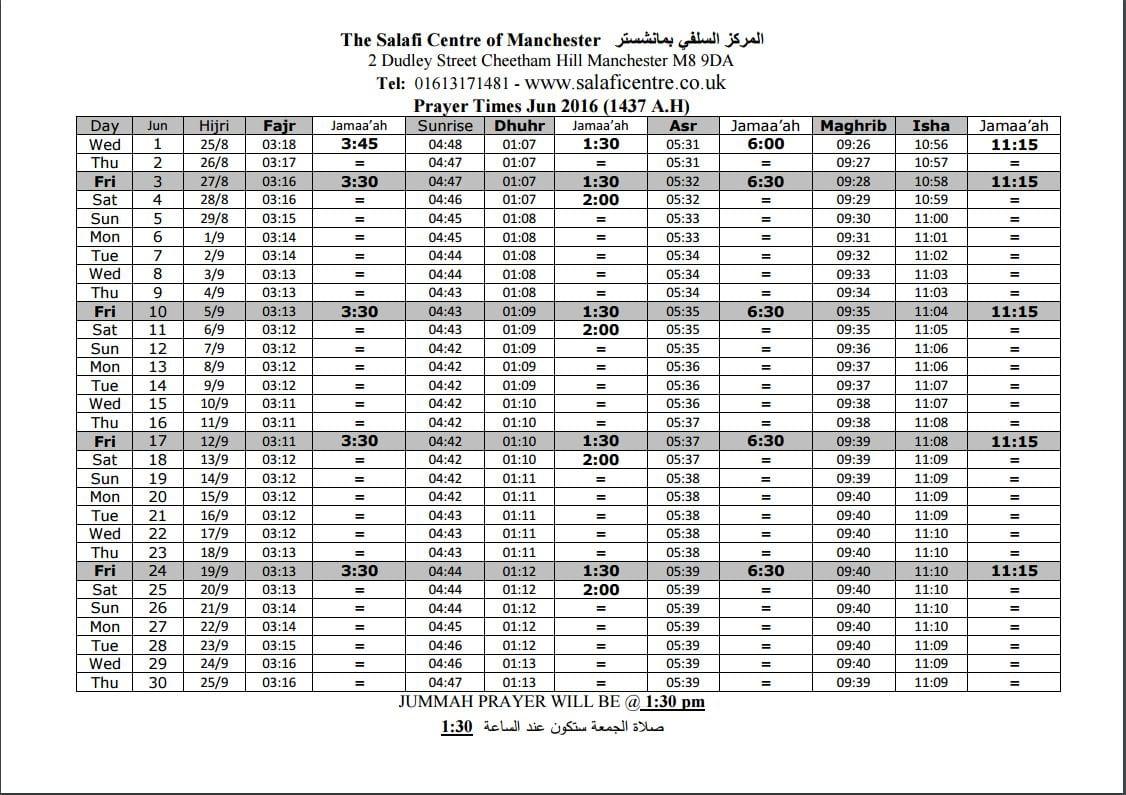 Ramadhan Timetable