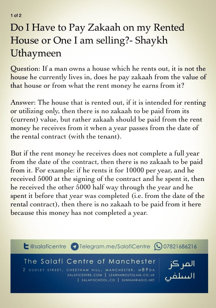 Do I Have To Pay Zakat on Rented House or One I Am Selling? – Shaykh Uthaymeen