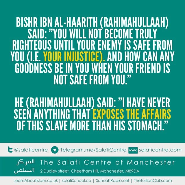 Two Characteristics of Righteousness Bishr Ibn Al-Haarith