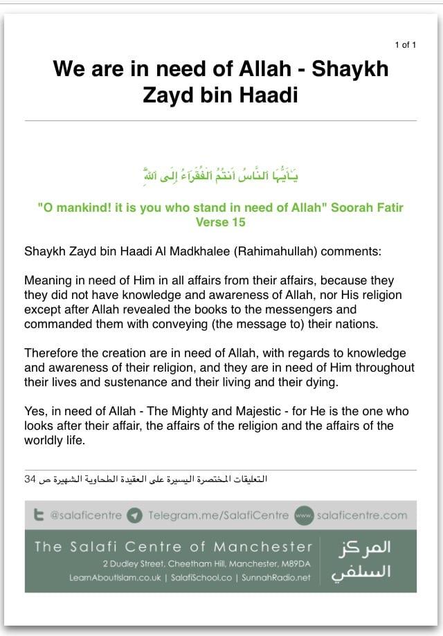 We are in Need of Allah – Shaykh Zayd bin Haadi Al Madkhalee