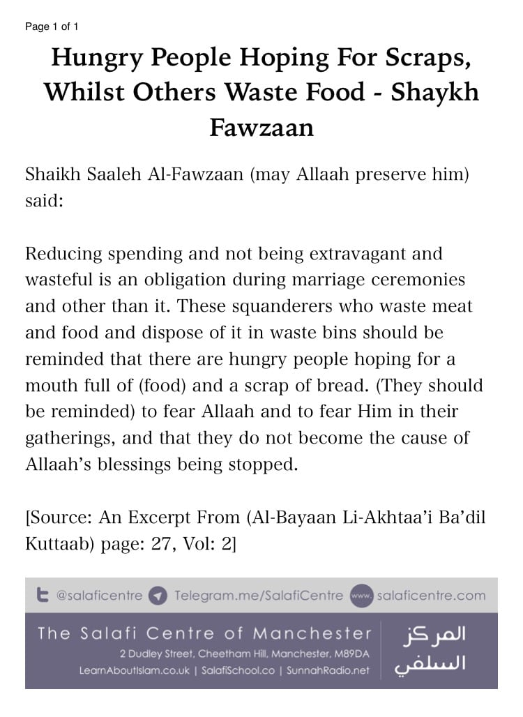 Hungry People Hoping for a Mouthful of Food & Scrap of Bread, Yet Some People Waste Food – a brief Admonition by Shaikh Fawzaan