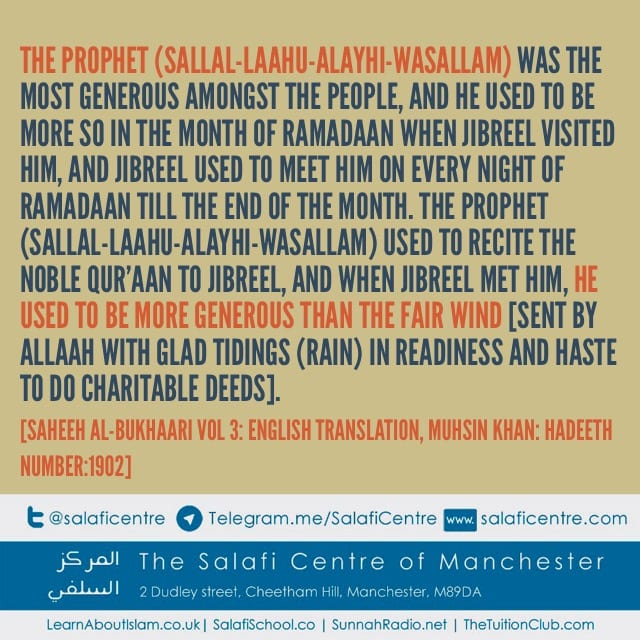 Generosity of the Prophet In And Outside of Ramadaan – Imaam Bin Baaz