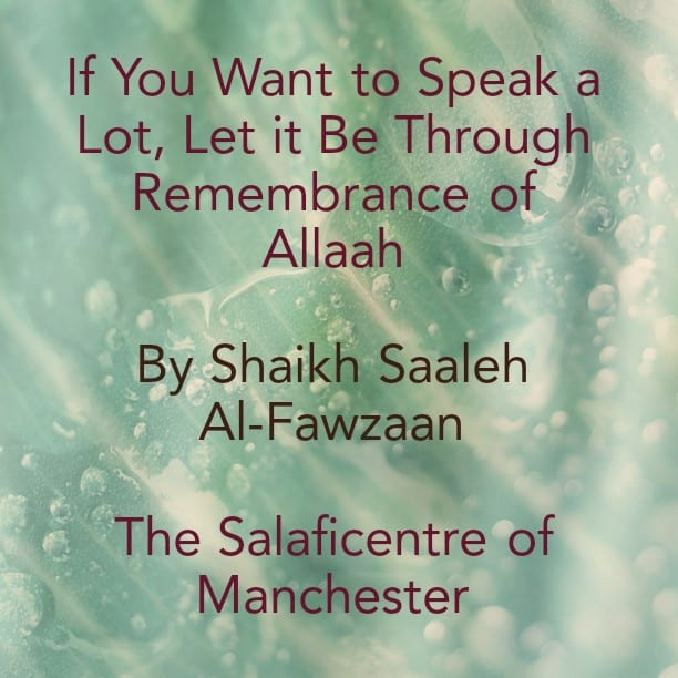 If you want to talk a lot, let it Be in Remembrance of Allaah Because There Are Many Opportunities to Do So! – By Shaikh Fawzaan