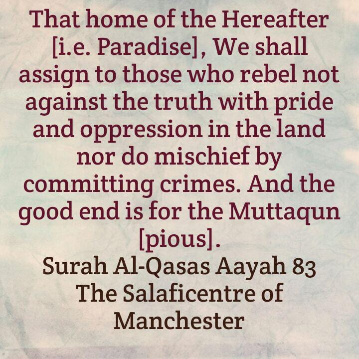 Glad Tidings For Those Who Do Not Desire Fasaad (Corruption or Mischief) In the Land (or The Earth) and a Warning to Those Who Desire Fasaad!