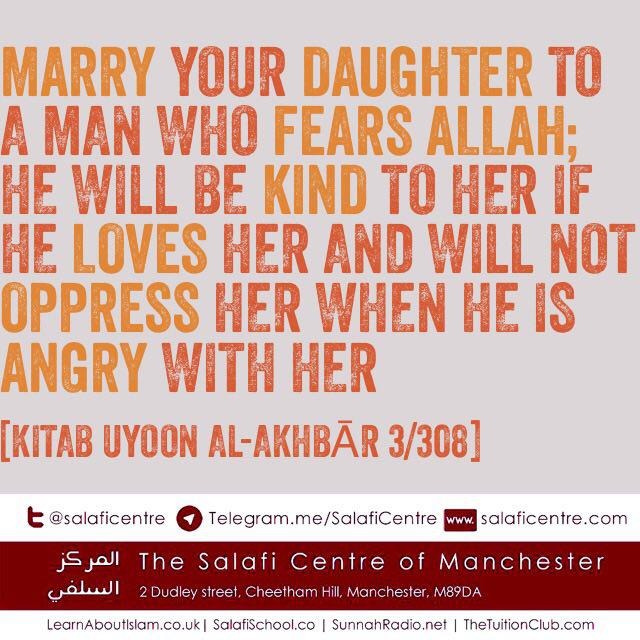 Marry Your Daughter To A Man Who Fears Allah