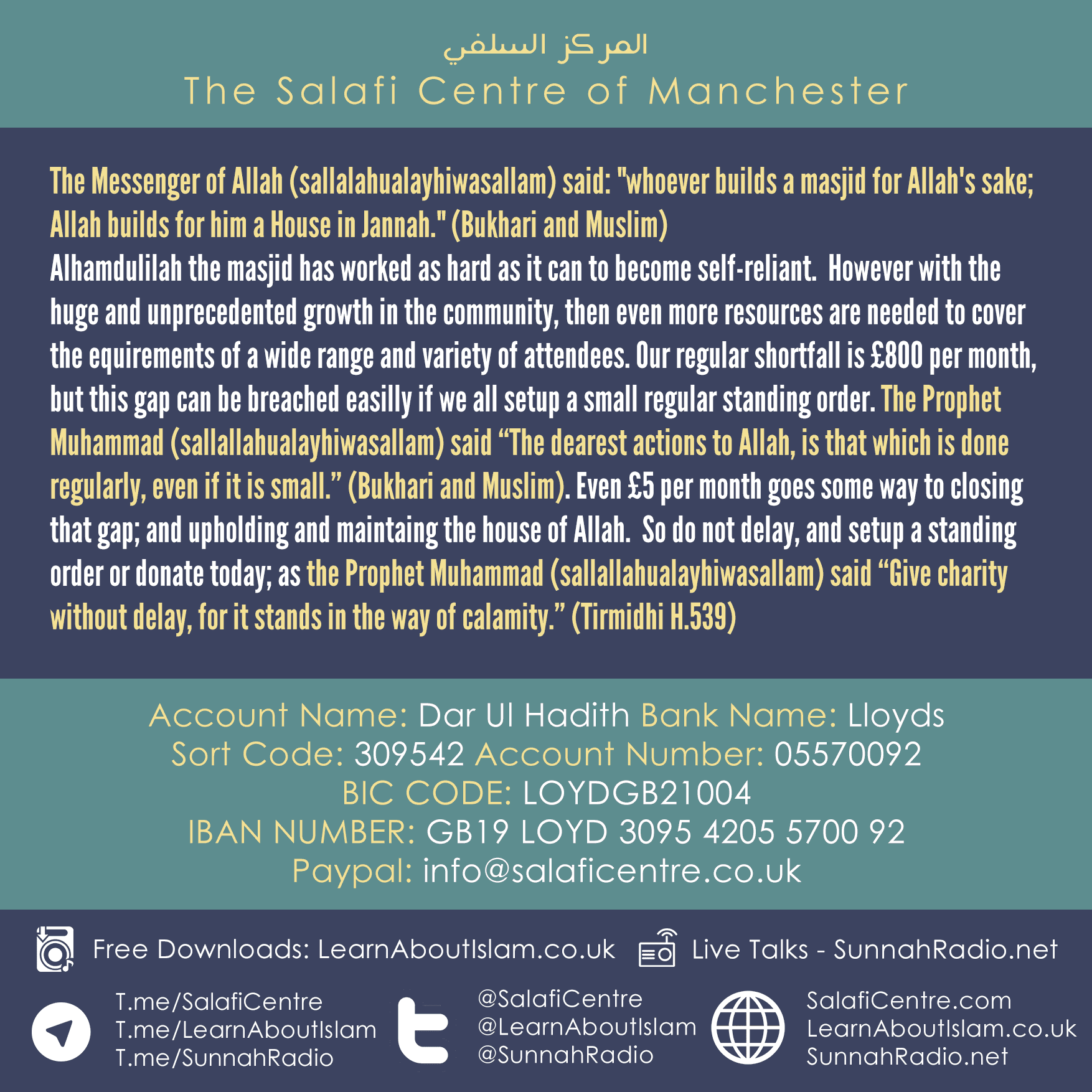 Help Fund the Masjid – Appeal for Assistance with Rent