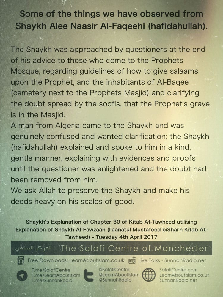 Explaining Sufi Doubts Abouts Graves in Masjids – Shaykh Alee Nasir (Hafidahullah)