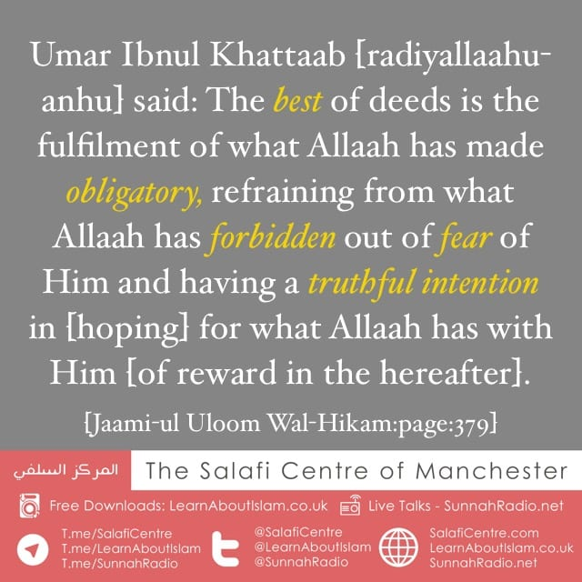 Which Are The Best Of Deeds? – Umar Ibnul Khattaab [radiyallaahu-anhu]