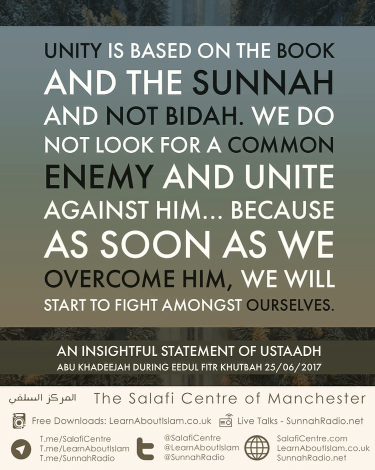 Unity is Based on Book and Sunnah! An Insightful Statement of Ustaadh Abu Khadeejah During Eedul Fitr Khutbah