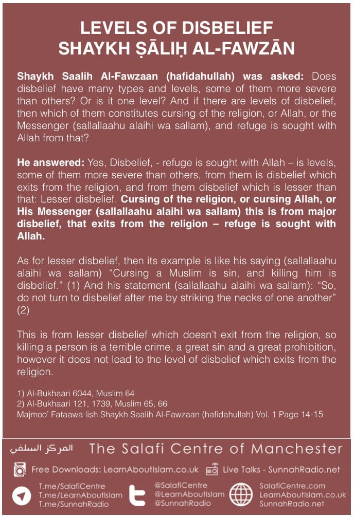 LEVELS OF DISBELIEF – SHAYKH ṢĀLIḤ AL-FAWZĀN