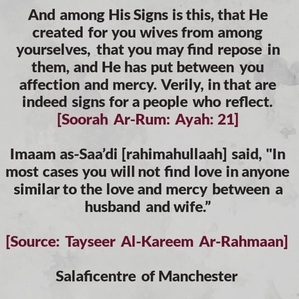 The Love Between Husband and Wife – By Imaam As-Sadi [rahimahullaah]
