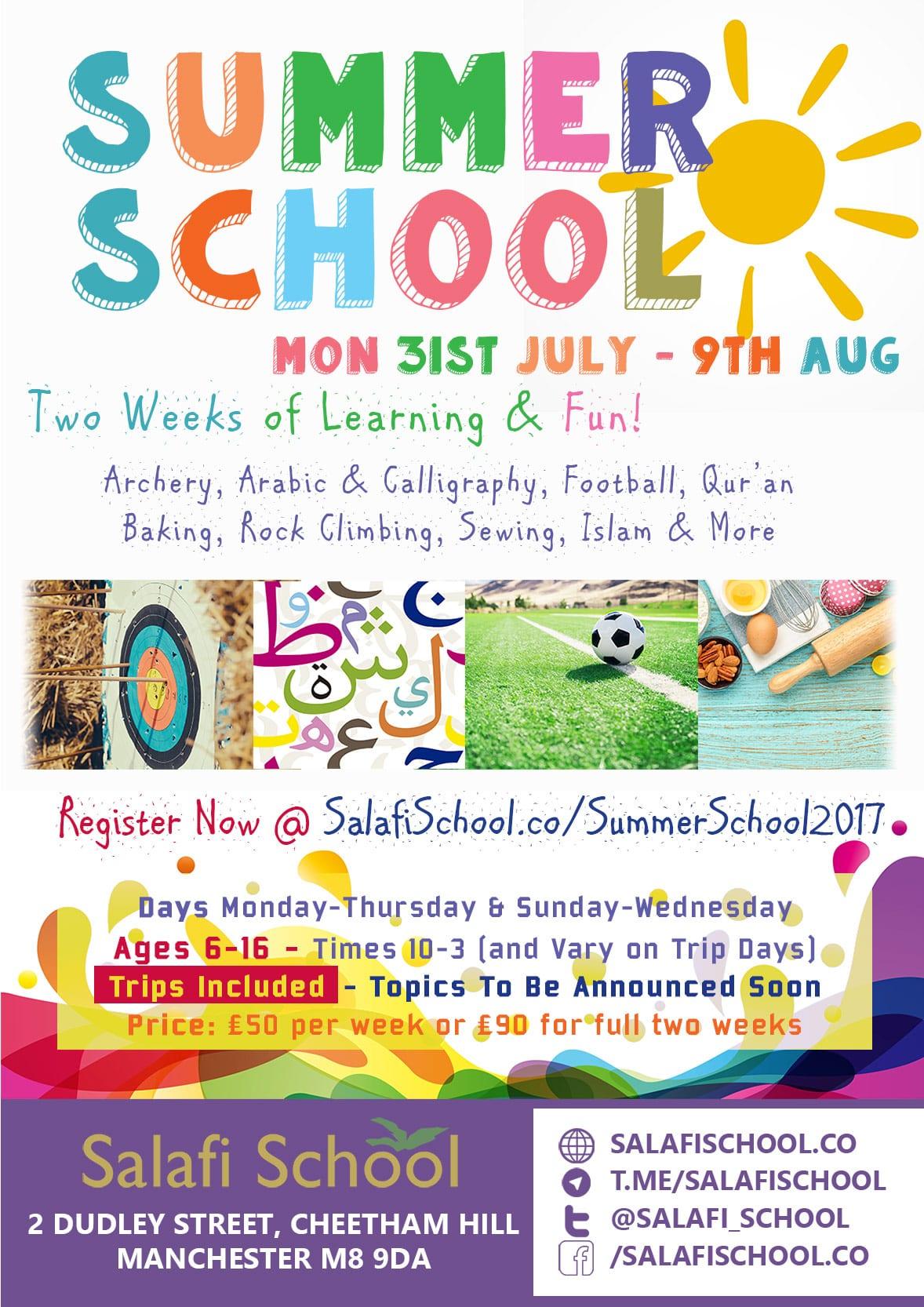 Summer School 2017 – Sign Up Your Children for Two Weeks of Activities, Tarbiyyah & Trips