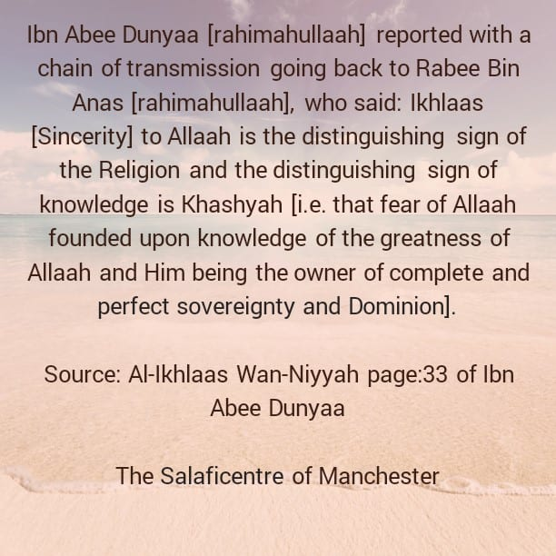A Distinguishing of the Religion and a Distinguishing Sign of Knowledge- By Rabee Bin Anas [rahimahullaah]