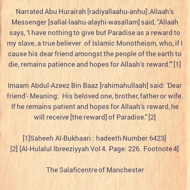The Great Reward For Exercising Patience After The Death of a Beloved Person
