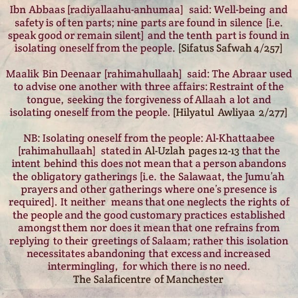 Isolating Oneself From The People Does Not Mean That One Abandons All Gatherings, Rather One is to Avoid Unnecessary Excess Intermingling