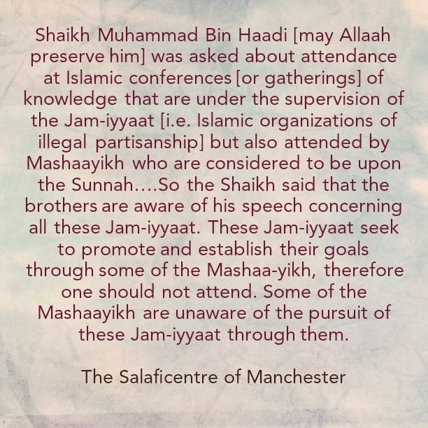 [1] Introduction: [The Reality of Masjid Al-Furqaan's Admin (Rusholme- Manchester)]- Reminder to the Salafiyyoon of South Manchester Regarding Attendance at Conferences Organised by Hizbi Masjid Admins