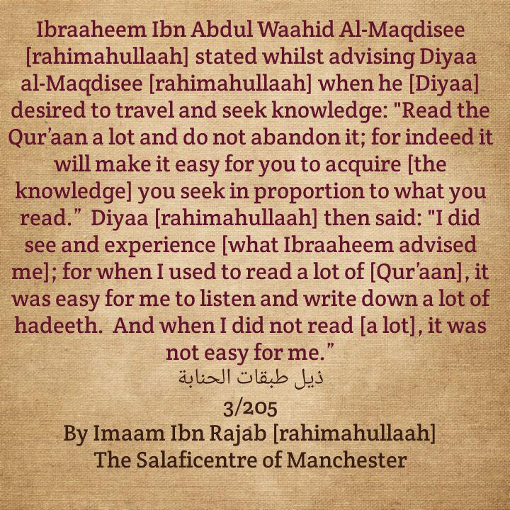 Advice Given to Diyaa Al-Maqdisi About Recitation of The Qur'aan Before He Travelled to Seek Knowledge