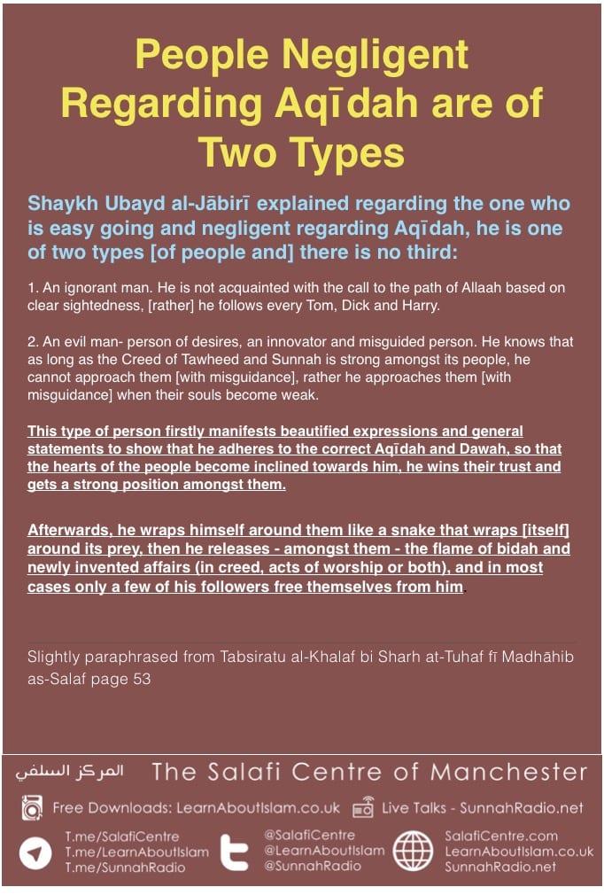 People Negligent Regarding Aqīdah are Two Types – Shaykh Ubayd