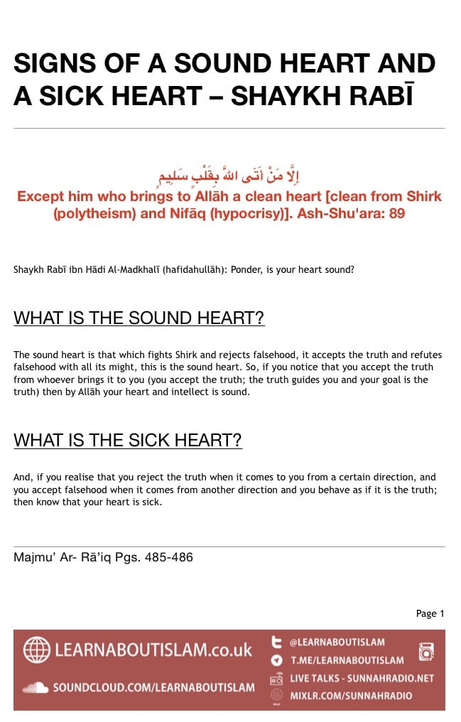 Signs of a Sound Heart and a Sick Heart – Shaykh Rabī