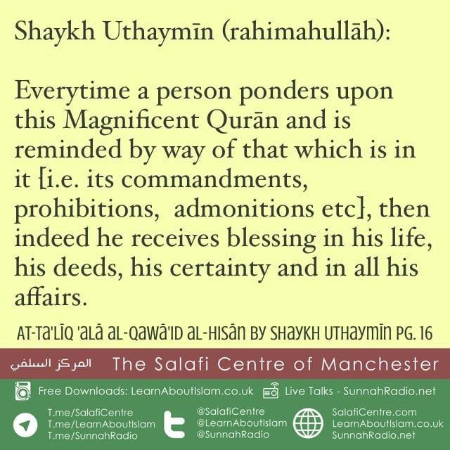 Benefit of Contemplating on the Qurān – Al-Uthaymīn