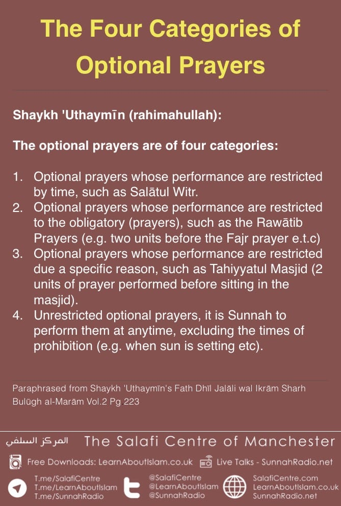 The Four Categories of Optional Prayers – Shaykh 'Uthaymīn (rahimahullah):