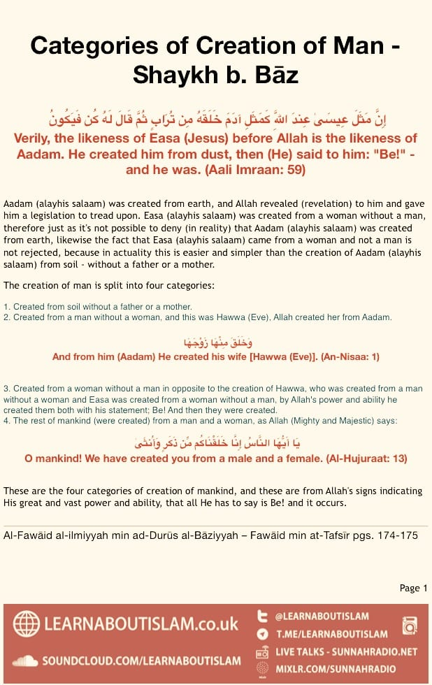 Categories of Creation of Man – Shaykh b. Bāz