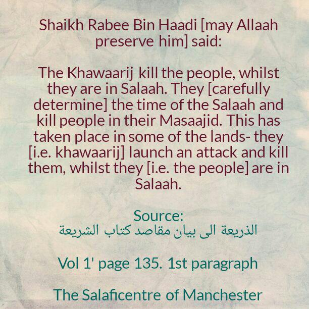 Killing People In The Masaajid-[Shaikh Rabee Reminds Us That This Is One of The Deeds of The Khawaarij (Devils)]