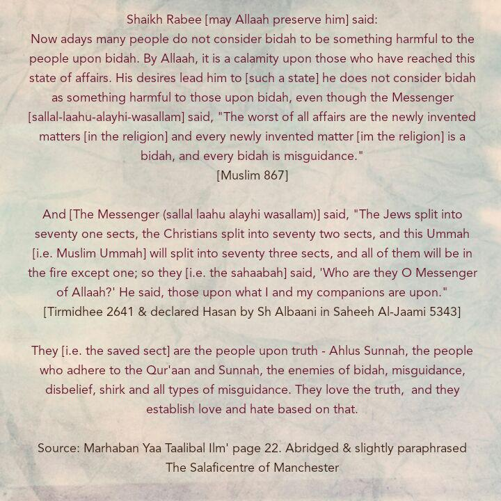 [4] Excerpts From Shaikh Rabee's Book Titled 'Marhaban Yaa Taalibal Ilm' -[A Calamity Has Afflicted Those Who Do Not Reject Bidah]