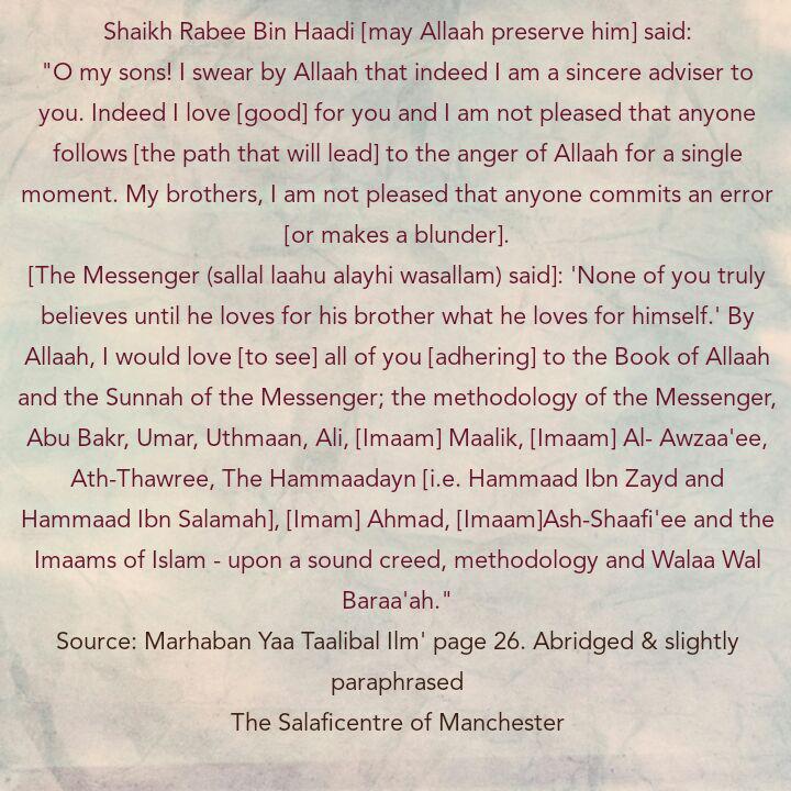 [5] Excerpts From Shaikh Rabee's BOOK Titled 'Marhaban Yaa Taalibal Ilm'