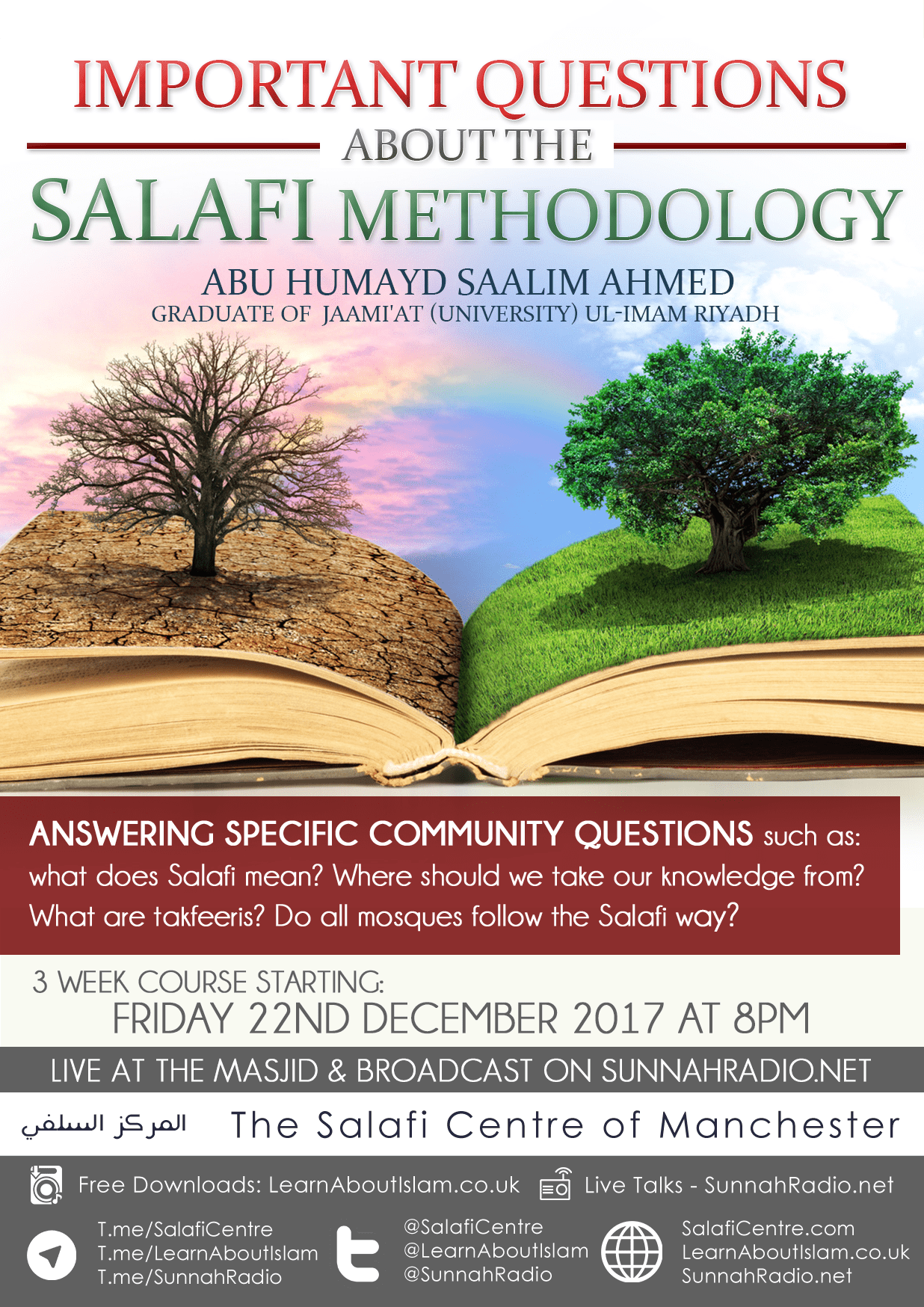3 Week Series Starts Fri 22nd December  – Important Questions About The Salafi Methodology – Abu Humaid Saalim