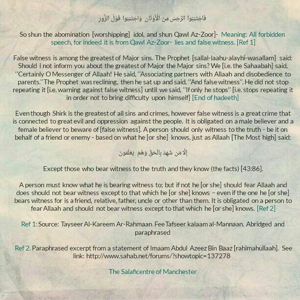 So, shun the abomination (worshipping) idol, and shun Qawl Az-Zoor – [Brief Admonition By Imaam Bin Baaz (rahimahullaah)]