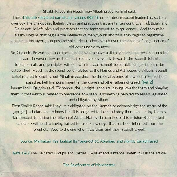[15B] Excerpts from Shaikh Rabee's Book Titled 'Marhaban Yaa Taalibal Ilm'- The Ahzaab [Deviated Parties and Groups]