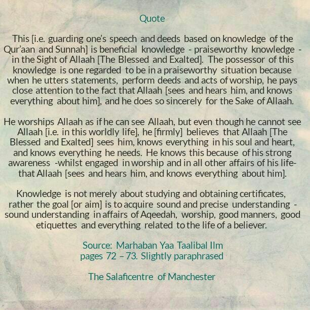 [16B] Excerpts From Shaikh Rabee's Book Titled 'Marhaban Yaa Taalibal Ilm – [The Goal Behind Knowledge Is to Acquire Sound Understanding In Affairs of Aqeedah, Worship, Good Manners, Good Etiquettes etc]