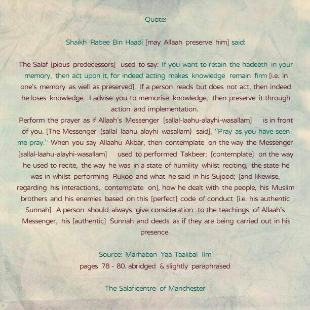[22] Excerpts from Shaikh Rabee's Book Titled 'Marhaban Yaa Taalibal Ilm' -[Memorise knowledge, Then Preserve it Through Action and Implementation]