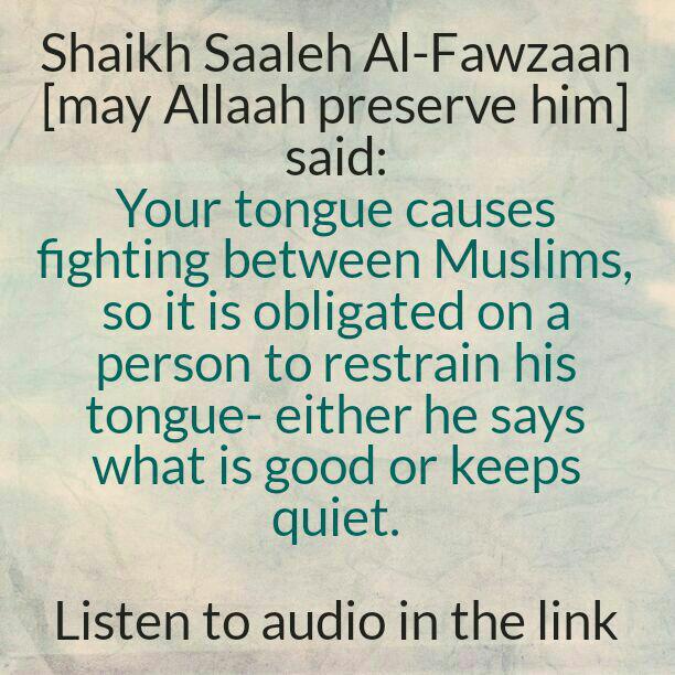 A Brief Admonition By Shaikh Fawzaan Regarding An Evil Deed of The Tongue